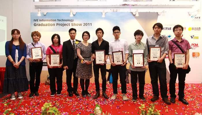 所有得獎者及香港專業教育學院(摩理臣山)資訊及通訊科技系代表合照。