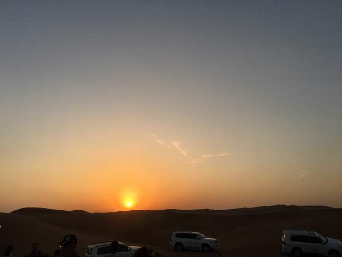 沙漠的夕陽。